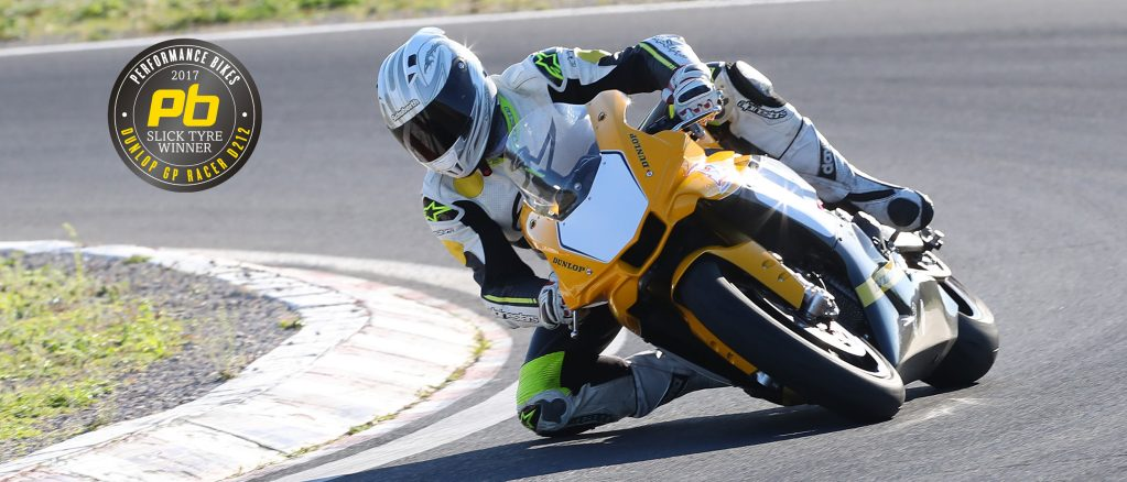 Yamaha sportsbike with test winning GP Racer Slick D212 tyres on the track