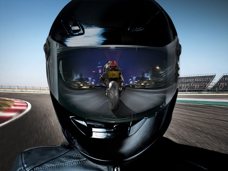 SportSmart TT rider visor showing track/city riding