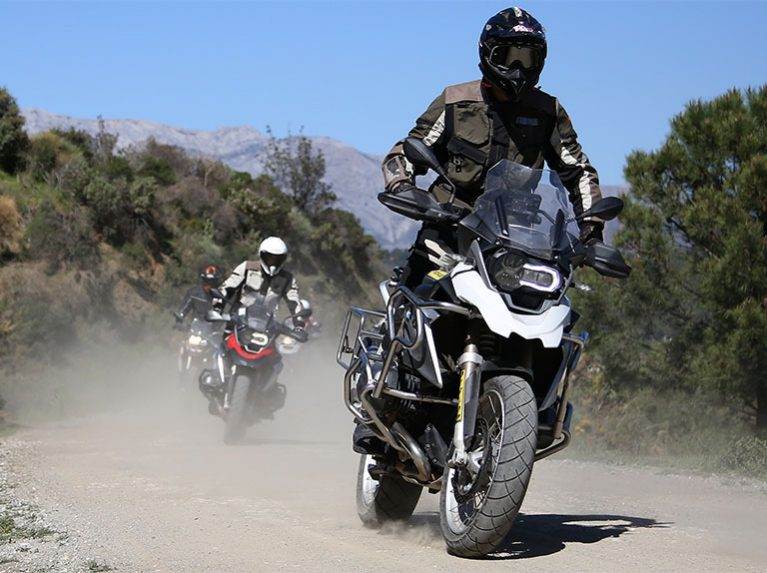 BMW 1200 GS bikes with TrailSmart MAX tyres riding off-road