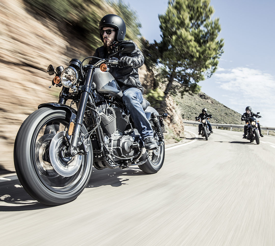 Harley-Davidson Roadster riders, riding on Dunlop tyres