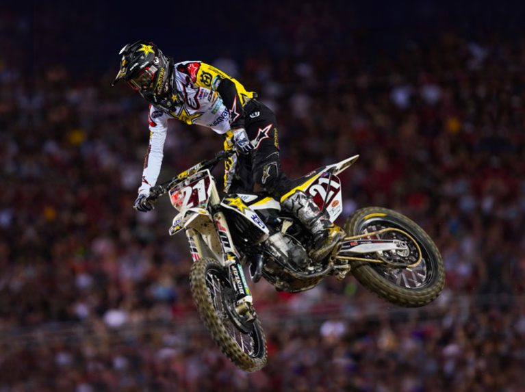 Jason Anderson on Dunlop tyres racing in the AMA Supercross