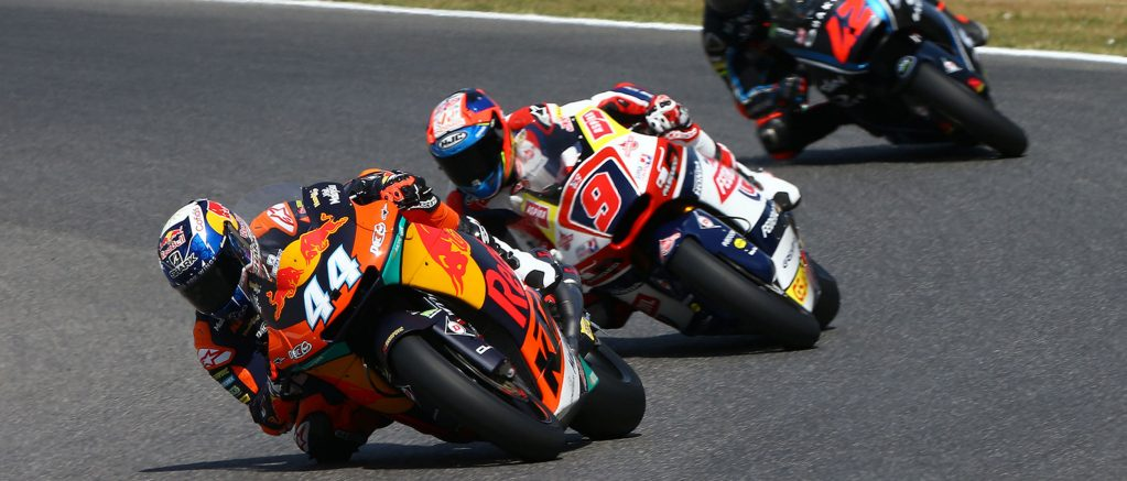 Moto2 Red Bull KTM Ajo rider Miguel Oliveira racing in on Dunlop tyres