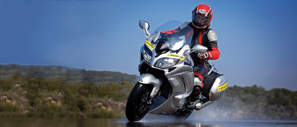 Dunlop's latest sport touring tyre, RoadSmart III on a Yamaha FJR1300 being put to the test