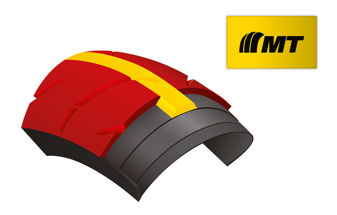 Improved mileage and shoulder grip from Dunlop's Multi-Tread (MT) compound technology