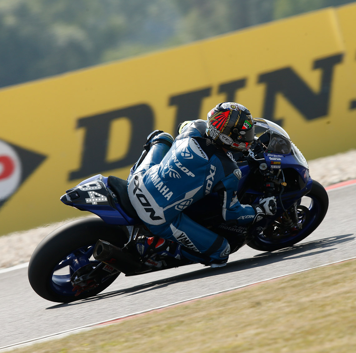 Yamaha's Lucas Mahias racing on Dunlop's race and test winning GP Racer SLICK D212 tyres