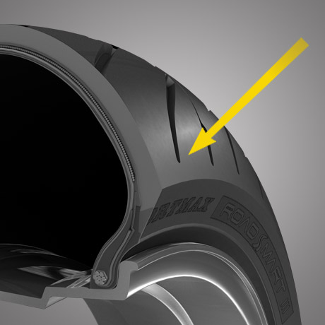 Rendered image highlighting the shoulder of a RoadSmart III Dunlop tyre