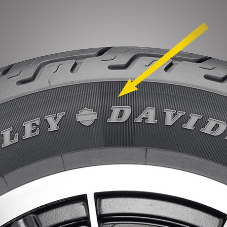 Rendered image showing the sidewall of a Harley-Davidson branded Dunlop tyre