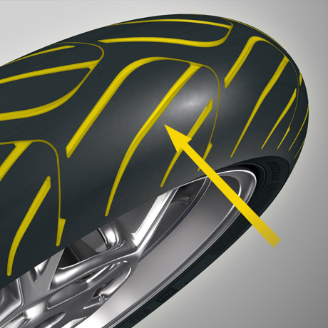 Rendered image highlighting the tread on a RoadSmart III Dunlop  tyre