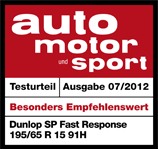 Dunlop SP FastResponse - Highly recommended - Auto Motor und Sport - 2012