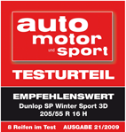 Dunlop SP Winter Sport 3D - Recommended - Auto Motor und Sport - 2009