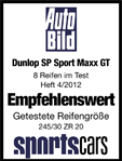 Dunlop SP Sport Maxx GT - Recommended - Auto Bild Sportscars - 2012