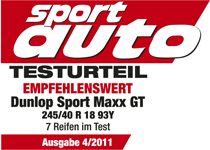 Dunlop SP Sport Maxx GT - Recommended - Sport Auto - 2011