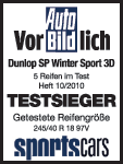 Dunlop SP Winter Sport 3D - Vencedor do Teste - Auto Bild - 2010