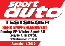 Dunlop SP Winter Sport 3D - Vencedor do teste - Sport Auto - 2010