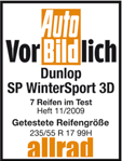 Dunlop SP Winter Sport 3D - Exemplary - Auto Bild Allrad - 2009