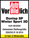 Dunlop SP Winter Sport 3D - Exemplary - Auto Bild -  2009
