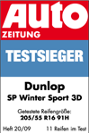 Dunlop SP Winter Sport 3D - Test winner - Auto Zeitung - 2009