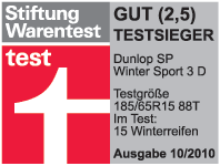 Dunlop SP WinterSport 3D - Test Winner - Stiftung Warentest - 2010