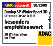 Dunlop SP WinterSport 3D - Particularly recommended - ADAC Motorwelt 2009