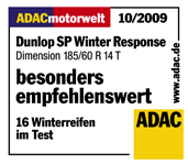 Dunlop SP Winter Response - Particularly recommended - ADAC Motorwelt - 2009
