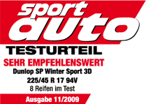 Dunlop SP Winter Sport 3D - Highly recommended - Sport Auto - 2009