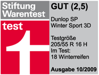 Dunlop SP Winter Sport 3D - Good - Stiftung Warentest - 2009